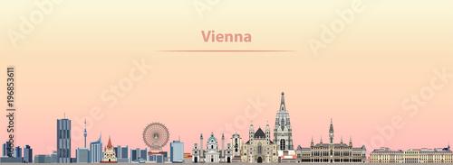 Fototapeta premium Wiedeń wektor panoramę miasta o wschodzie słońca
