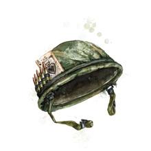 Soldier Hat. Watercolor Illust...