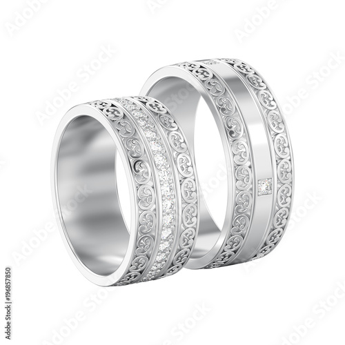 Ilration Isolated Two White Gold Or Silver Decorative Wedding Bands Carved Out Rings With Ornament