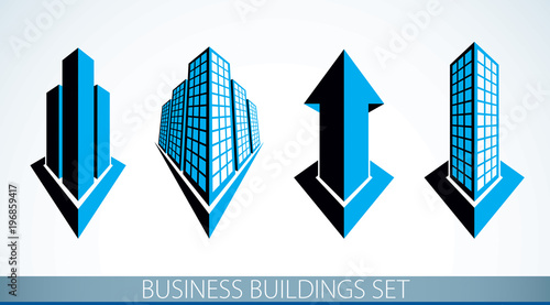 Futuristic buildings set, modern style vector architecture illustrations collection. Real estate realty business center designs. 3D business office facades in city. Arrow up skyscraper concept.