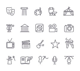 Culture and Creative Fine Art Line Icons Set