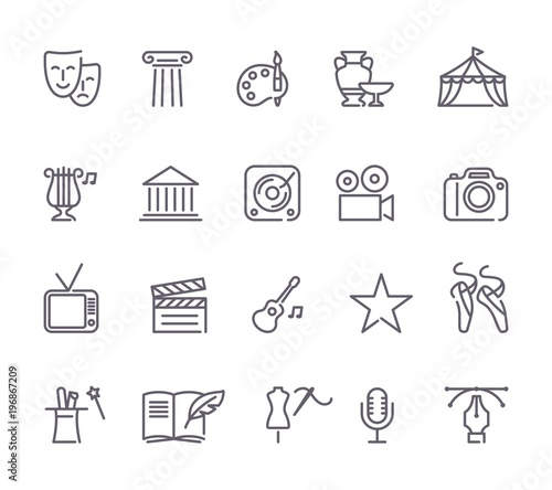 Tela Culture and Creative Fine Art Line Icons Set