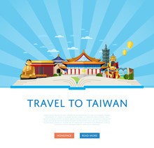 Travel To Taiwan, Vector Illustration. Open Big Book With Famous Traditional And Modern Asian Buildings On Striped Blue Background. Time To Travel Concept. Taiwan Landmarks Website Template.