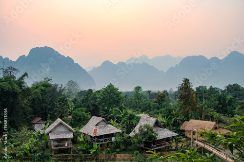 Photo  Sunset in Vang Vieng, Laos, South East Asia