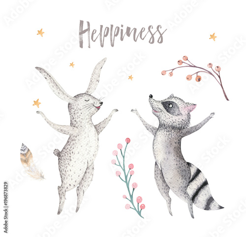 Happy jamping raccoon and bunny animal illustration for kids Watercolor boho forest cartoon Birthday patry rabbit Balloons invitation Perfect for nursery posters, greeting card