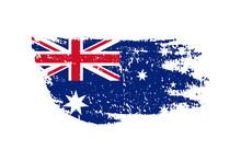 Vintage Australian Flag Illustration. Vector Australian Flag On Grunge Texture.