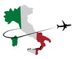 canvas print picture - Italy map flag with plane silhouette and swoosh illustration