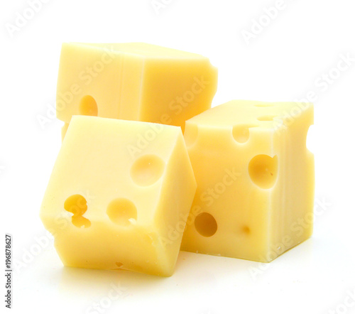 Fototapeta piece of cheese isolated on a white background obraz