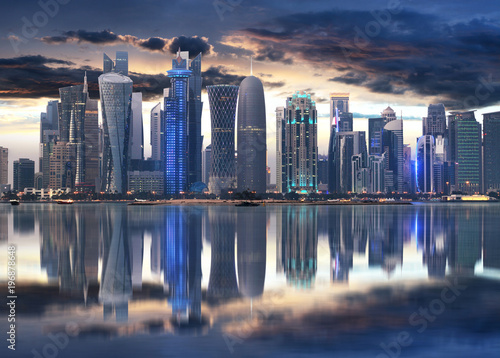 Fotografie, Obraz  Doha city skyline city center at night, Qatar