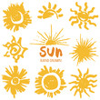 Sun icons. Vector set of hand draw illustration isolated on white background.