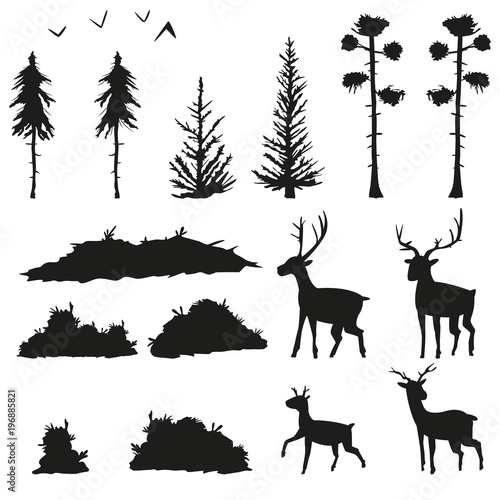 Black silhouettes of pines, spruce, bushes, grass, deer and birds Fototapeta