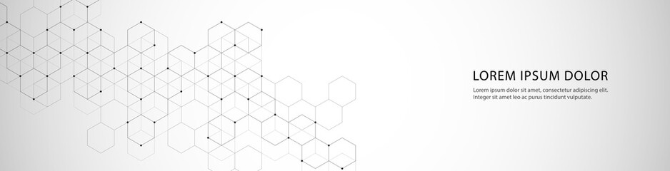 Vector banner design with hexagons abstract background.
