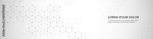 Photo Vector banner design with hexagons abstract background.