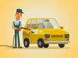Happy smiling worker serviceman washer man character washing automobile car with hose foam water spray. Auto service station carwash concept. Vector flat cartoon illustration