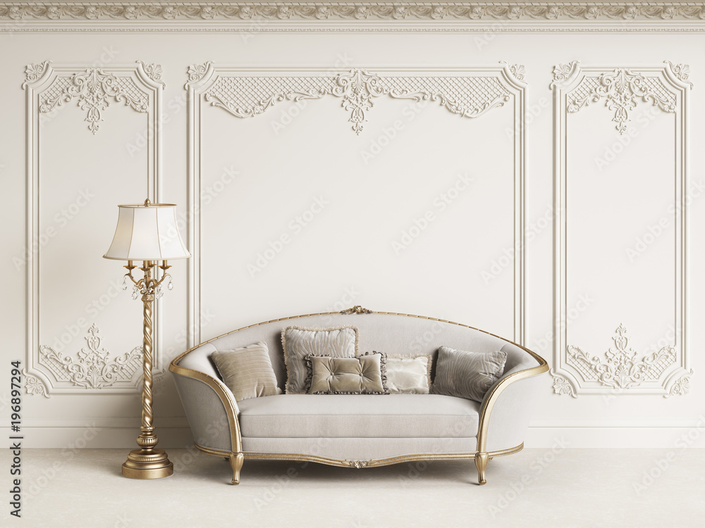 Fototapety, obrazy: Classic furniture in classic interior with copy space.White walls with mouldings and ornated cornice.Digital Illustration.3d rendering