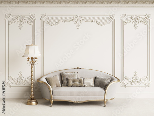 Obraz Classic furniture in classic interior with copy space.White walls with mouldings and ornated cornice.Digital Illustration.3d rendering - fototapety do salonu