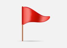 Red Triangular Waving Flag Ico...
