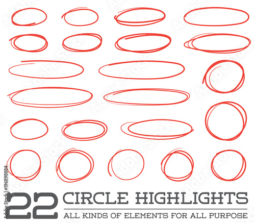 Photo Red Hand Drawn Circles Rounds Bubbles Set Collection in Raster