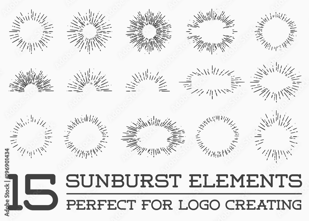 Fototapety, obrazy: Sunburst on Starburst Element Set for Logo Creating or using as Icon