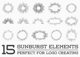 Sunburst on Starburst Element Set for Logo Creating or using as Icon