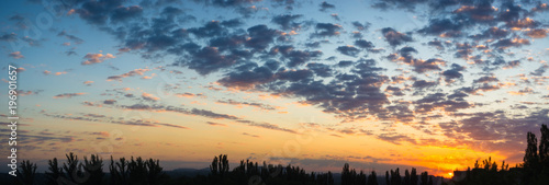 Fototapety, obrazy: Landscape with dramatic light - beautiful golden sunset with saturated sky and clouds.