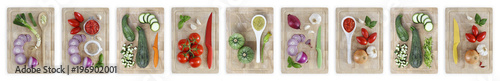 Keuken foto achterwand Verse groenten set of cutting boards with many vegetables isolated on white banner background