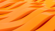 3d Abstract Stripe Background Waving Surface Made Of Orange Lines