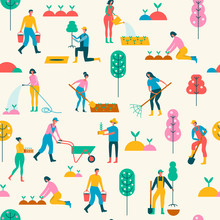 Seamless Background With People Engaged In Gardening