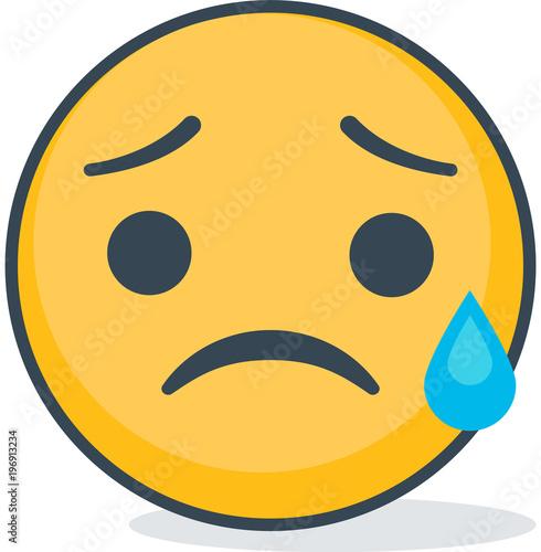 Isolated crying sad emoticon. Isolated emoticon Fototapeta