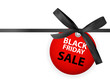 Black Friday Sale Labei with Bow and Ribbon Isolated on White Background Vector Illustration
