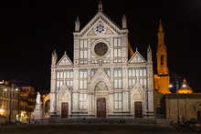 View Of The Basilica Di Santa Croce By Night In Florence. There Is The Tomb Of Gallileo In The Church.