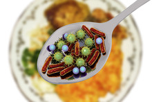 Food Infection, Medical Concept, 3D Illustration Showing Spoon With Microbes