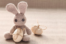 Easter Knitted Bunny Toy With Easter Eggs. .Easter Egg With Ribbon Bow. Vintage Style Easter  Card.