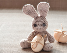 Easter Bunny Toy With Easter Eggs Natural Colour. Easter Egg With Ribbon. Vintage Style Easter  Card..Handmade Greeting.
