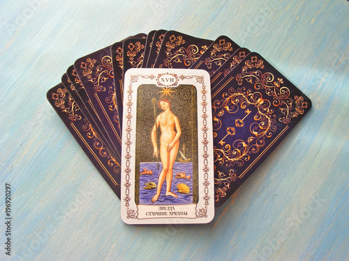 Tarot cards medieval close up with russian title The Star Tarot