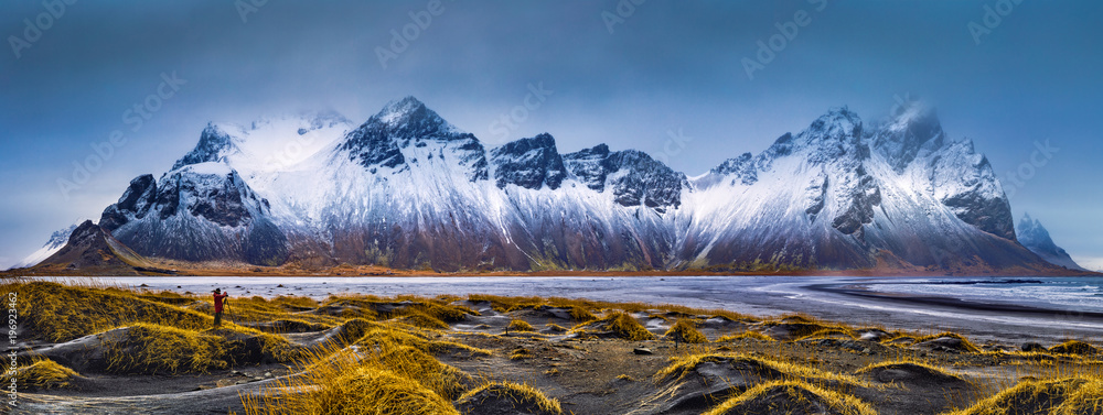 Fototapety, obrazy: Vestrahorn mountain range and Stokksnes beach panorama, near Hofn, Iceland. An unidentifiable photographer captures the scenery.