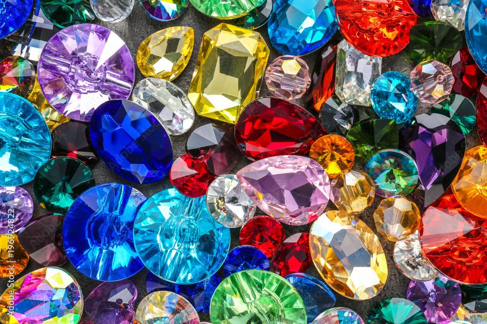 Fototapeta Various colorful precious stones for jewellery as background
