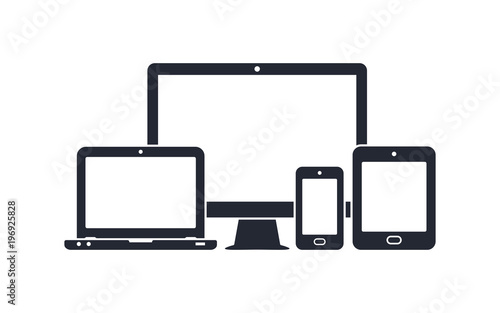 Cuadros en Lienzo  Device icons - desktop computer, laptop, smartphone and tablet