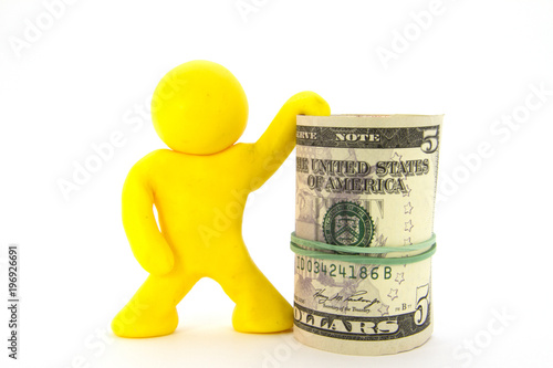Yellow plasticine characters and money Canvas Print