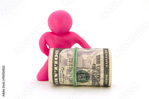 Pink plasticine characters and ready cash dollars Canvas Print