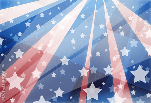 Fotografia  red white and blue background design with stars and stripes in modern geometric