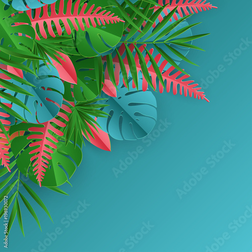 Fototapety, obrazy: Tropical paper palm, monstera leaves frame. Summer tropical leaf. Origami exotic hawaiian jungle, summertime background