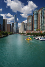 Tour Boats And Chicago Skyline