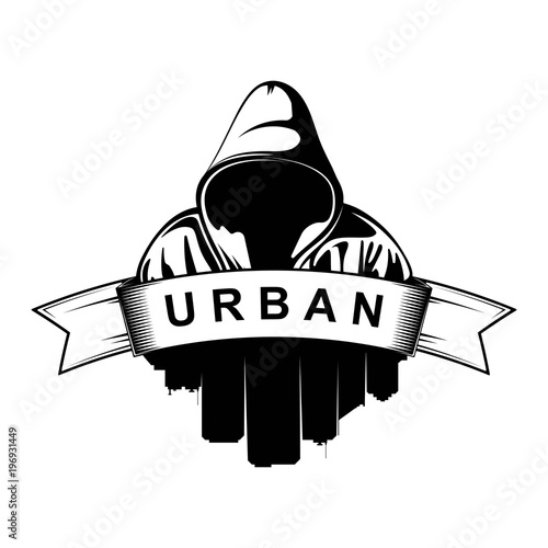 Logo design. Hooded man. City Silhouette. Urban. Street ...