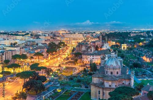 Fotografie, Obraz  Rome, Italy - 13 March 2018 - The cityscape from Vittoriano monument, in the center of Rome, also know as 'Altare della Patria'
