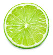 canvas print picture - close-up view of single slice of lime isolated on white background