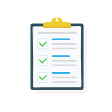Clipboard With Checklist Icon. Checklist Complete Tasks, To-do List, Survey, Exam Concepts. Best Quality. Flat Illustration Of Clipboard With Checklist Icon For Web. Vector.
