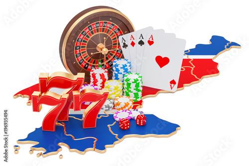 Foto  Casino and gambling industry in North Korea concept, 3D rendering