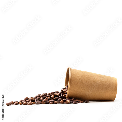 Cardboard cup filled with coffee beans. Isolated. Poster