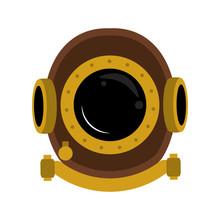 Antique Diving Helmet Vector I...